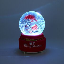 Home Decor - Musical Crystal Globe Santa Claus and Reindeer with Umbrella (Size 10x10x15.5 Cm) - Red