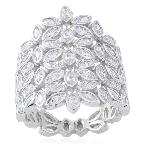 Signature Collection- ELANZA Simulated White Diamond (Mrq) Floral Ring in Rhodium Plated Sterling Si