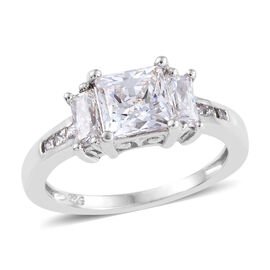 J Francis Made with Swarovski Zirconia Trilogy Ring in Platinum Plated Sterling Silver