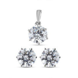2 Piece Set - J Francis Platinum Overlay Sterling Silver Pendant and Stud Earrings (with Push Back)
