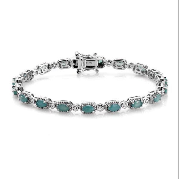 Grandidierite ,  White Zircon  Line Bracelet 1 Row (Size - 7) in Platinum Overlay Sterling Silver 5.