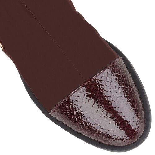 Lotus Snake-Print Microfibre Coppice Ladies Ankle Boots (Size 3) - Maroon