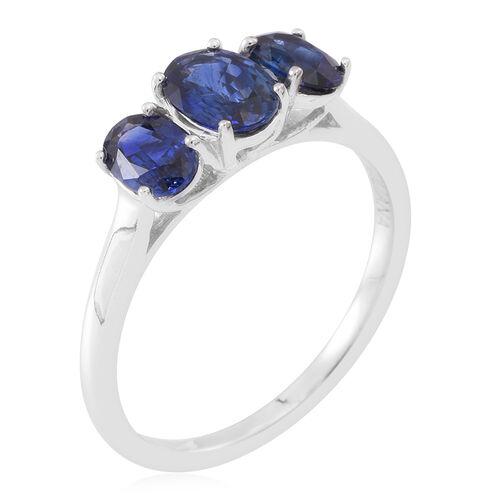 ILIANA 18K White Gold AAAA Ceylon Sapphire (Ovl 1.00 Ct) 3 Stone Ring 2.000 Ct.