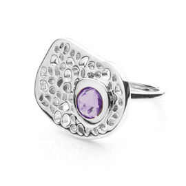RACHEL GALLEY Amethyst (Rnd) Lattice Ring in Rhodium Overlay Sterling Silver 0.780 Ct, SIlver wt 5.7