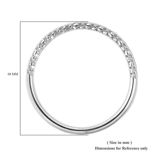 RACHEL GALLEY Allegro Collection - Rhodium Overlay Sterling Silver Bangle (Size 6.5), Silver wt 18.70 Gms