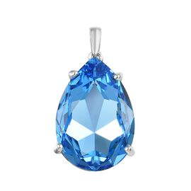 J Francis Aquamarine Colour Crystal from Swarovski Solitaire Drop Pendant in Platinum Plated Silver
