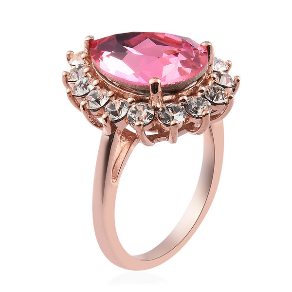 J Francis - Crystal from Swarovski Rose Colour Crystal and White Colour Crystal Ring in Rose Gold Overlay Sterling Silver