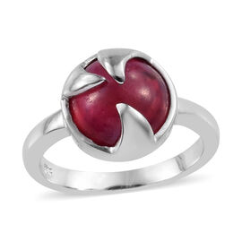 LucyQ African Ruby (Rnd) Rose Thorn Ring in Platinum Overlay Sterling Silver 7.250 Ct.
