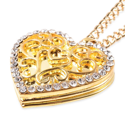 White Austrian Crystal Heart Locket Necklace (Size 20 with Extender) in Yellow Gold Tone