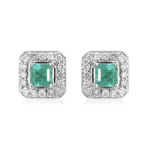 1.01 Ct AA Emerald and Diamond Halo Stud Earrings in 14K White Gold 4.2 Grams With Push Back I3 GH