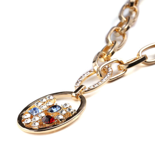 Simulated Multi Colour Daimond and White Austrian Crystal Necklace (Size 26 with Extension) in Yellow Gold Tone