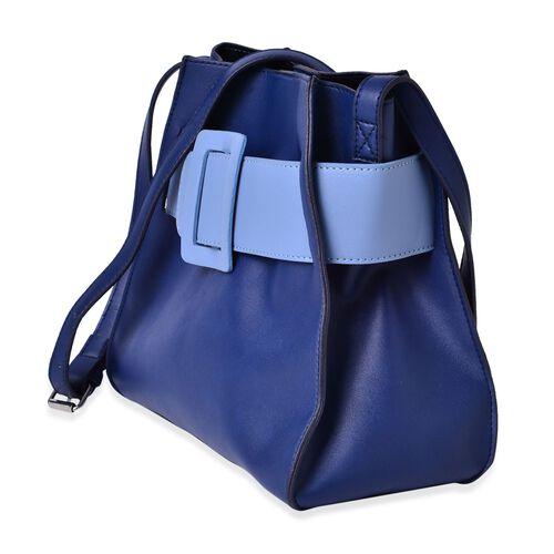 Set of 2 - Navy and Light Blue Colour Buckle Belt Design Large Handbag (Size 28x25x12.5 Cm) with Adjustable Shoulder Strap and Small Handbag (Size 17.5x15x7.5 Cm)