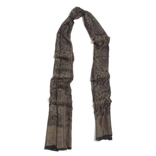 88% Merino Wool and 12% Silk Jacquard Weaving Paisley and Leaf Pattern Chocolate and Black Colour Scarf (Size 200x70 Cm)