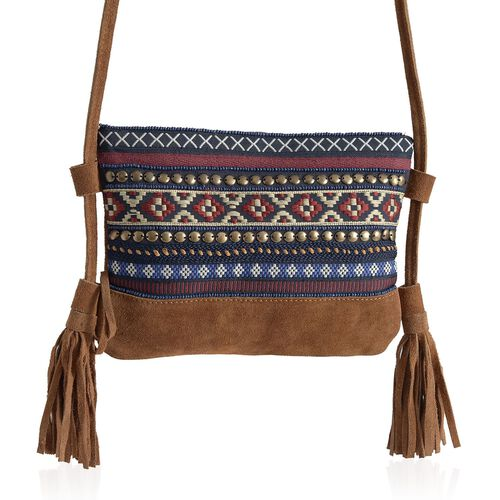 Limited Edition 100% Genuine Leather Embroidered Chocolate Colour Shoulder Bag with Tassels (Size 22x17 Cm)