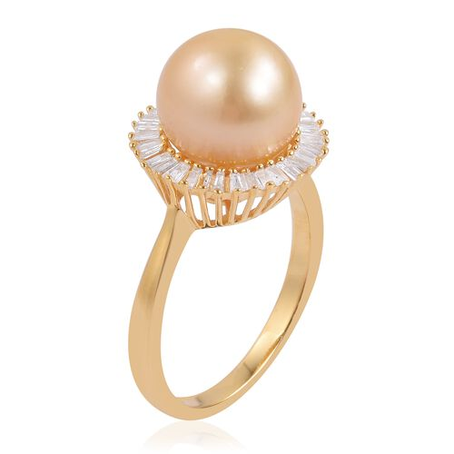 South Sea Golden Pearl (Rnd 10-10.5mm), Diamond Ring in Yellow Gold Overlay Sterling Silver