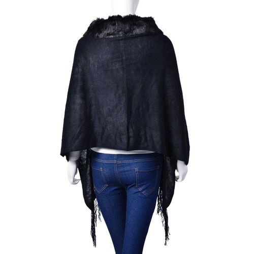 One Time Deal - Designer Inspired - Super Soft Black Colour Longer Line Kimono Cape with Faux Fur Collar (Free Size)