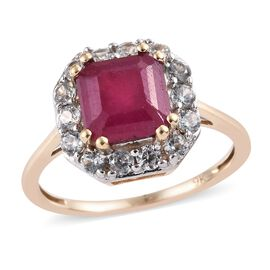 9K Yellow Gold AA African Ruby (Oct), Natural Cambodian Zircon Ring  3.00 Ct.