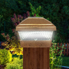 Pack of 2 - Solar Post Lights (Size:15x15x12Cm) - Gold