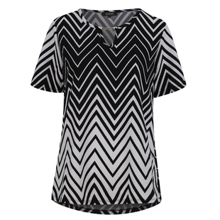 TJC ESSENTIALS V Shape Chevron Pattern Soft & Comfy Top with Round Neckline and Long Sleeves