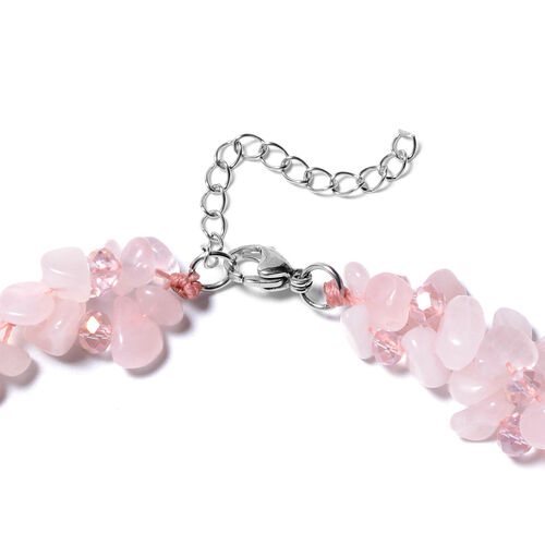 2 Piece Set - Rose Quartz and Pink Colour Beads Necklace (Size 18 with 1.5 inch Extender) and Hook Earrings in Stainless Steel 455.12 Ct.