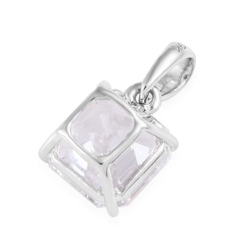 J Francis - 9K White Gold (Asscher Cut 8x8 mm) Pendant Made with SWAROVSKI ZIRCONIA, Carat wt 3.50 Ct.