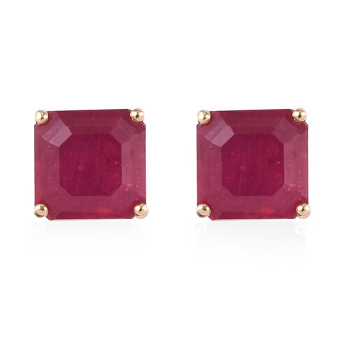 9K Yellow Gold AAA African Ruby (Asscher Cut ) Stud Earrings (with Push Back) 3.00 Ct.