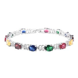 Multi Colour Simulated Diamond (Ovl) Tennis Bracelet (Size 6.75) in Silver Plated
