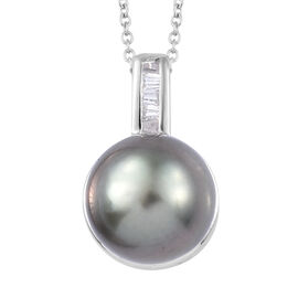 Tahitian Pearl and Natural Cambodian Zircon Pendant With Chain (Size 20) in Platinum Overlay Sterlin