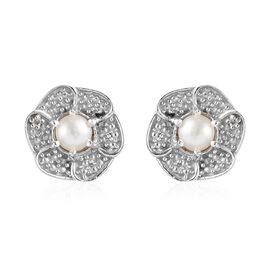 Freshwater Pearl and Diamond Floral Stud Earrings in Platinum Plated Silver