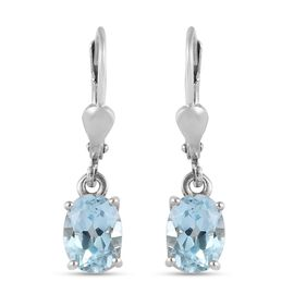2.75 Ct Sky Blue Topaz Lever Back Solitaire Earrings in Platinum Plated Sterling Silver