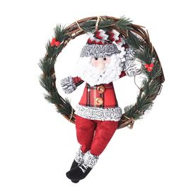 Christmas Decorative Santa Claus Wreath with Artificial Pine Twigs (Size 32 Cm) - Red and Green