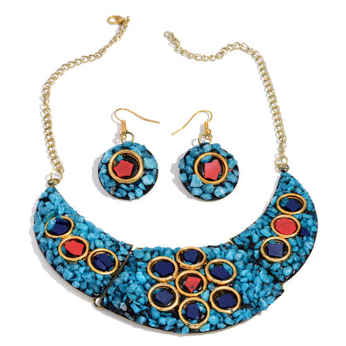 Blue and Multi Resin Chips Fancy Brass Necklace (Size 15) and Hook Earrings in Silver Bond