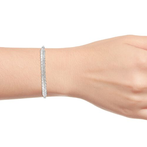 GP - Diamond (Bgt), Blue Sapphire Bangle (Size 7.5) in Platinum Overlay Sterling Silver 1.52 Ct, Silver wt 16.40 Gms
