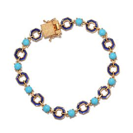 GP - Arizona Sleeping Beauty Turquoise and Blue Sapphire Enamelled Bracelet (Size 8) in 14K Gold Ove