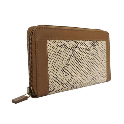 Assots London Animal Print Leather Purse (Size 21x12x2cm) - Tan