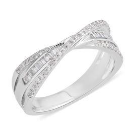 0.36 Ct Diamond Criss Cross Ring in Rhodium Plated Silver