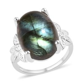 10 Carat Labradorite Floral Solitaire Ring in Sterling Silver