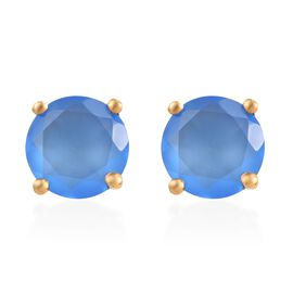 Enhanced Blue Chalcedony (Rnd) Stud Earrings (with Push Back) in 14K Gold Overlay Sterling Silver 1.