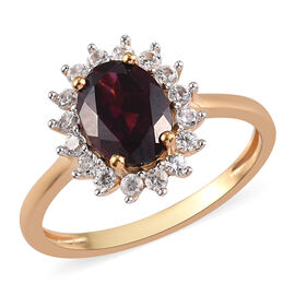 Rhodolite Garnet and Natural Cambodian Zircon Halo Ring in 14K Gold Overlay Sterling Silver 1.75 Ct.