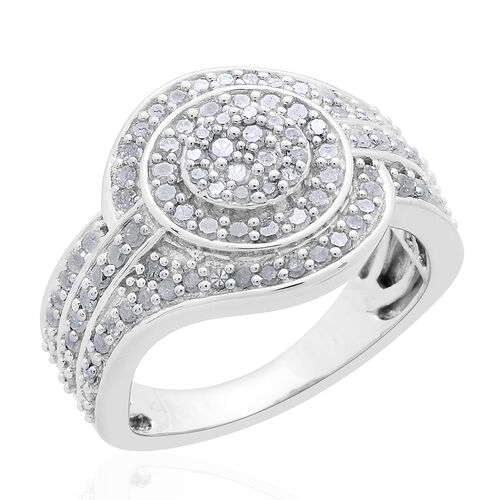Diamond (Rnd) Ring in Platinum Overlay Sterling Silver 1.000 Ct. Silver wt 7.49 Gms.
