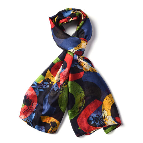 LA MAREY New Collection - 100% Mulberry Silk Arc-Shaped Patterned Scarf (Size 180x110cm) - Multi Colour