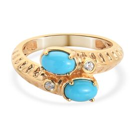 Arizona Sleeping Beauty Turquoise and Natural Cambodian Zircon Bypass Ring in 14K Gold Overlay Sterl
