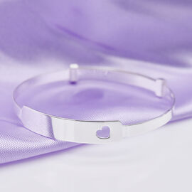 Italian Made - Sterling Silver Heart Cut Out Baby Bangle