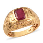 African Ruby Solitaire Ring (Size R) in 14K Gold Overlay Sterling Silver 2.00 Ct, Silver wt 5.59 Gms