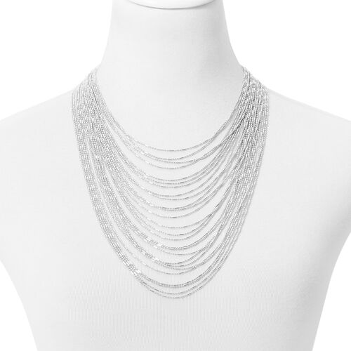 Multi Row Waterfall Necklace (Size 16 with 4 inch Extender) in Silver Tone