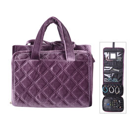 Foldable Travel Jewellery Storage Pouch with Hanging Hook in Purple Colour