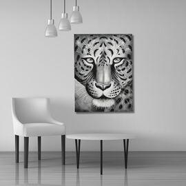 Balinese - Leopard Head Canvas Handpainting (Size 80x60 Cm)