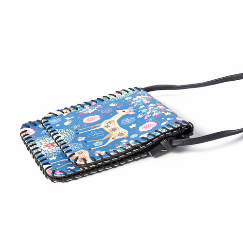 Water Resistant Deer Print Sling Bag with Button Closure (Size 12.5x18cm) - Blue