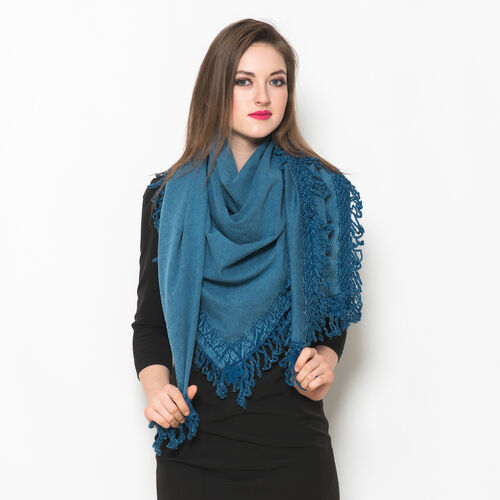 Designer Inspired Light Blue Colour Scarf with Floral Pattern Lace and Fringes at the Boundaries (Si