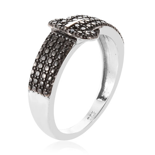 Black Diamond (Rnd) Buckle Ring in Platinum Overlay with Black Plating Sterling Silver